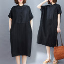 Women's large Spring 2021 black One size fits all [120-250 kg recommended] Dress singleton  commute easy moderate Socket Short sleeve literature stand collar 25-29 years old Button Medium length