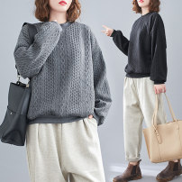 Women's large Spring 2021 Gray, black Large size average size [100-180 Jin recommended] Sweater / sweater singleton  commute easy moderate Socket Long sleeves literature Crew neck routine 25-29 years old