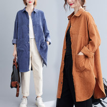 Women's large Autumn 2020 Yellow, blue Big M [recommended 100-125 kg], big l [recommended 125-150 kg], big XL [recommended 150-175 kg], big 2XL [recommended 175-200 kg] shirt singleton  commute Straight cylinder moderate Cardigan Long sleeves literature Polo collar routine 25-29 years old