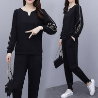 Women's large Autumn 2020 black Big M [recommended under 100 kg], big l [recommended 100-115 kg], big XL [recommended 115-130 kg], big 2XL [recommended 130-145 kg], big 3XL [recommended 145-160 kg], big 4XL [recommended 160-180 kg] Other oversize styles Two piece set commute easy moderate Socket