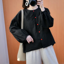 Women's large Spring 2021 Black, white Large size L [100-130 Jin recommended], large XL [130-160 Jin recommended], large 2XL [160-190 Jin recommended] shirt singleton  commute easy moderate Cardigan Long sleeves literature Crew neck routine 25-29 years old Button