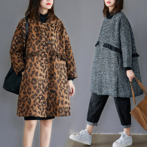 Women's large Autumn 2020 Leopard, herringbone Large L [100-150 Jin recommended], large XL [150-200 Jin recommended] woolen coat singleton  commute easy thick Cardigan Long sleeves literature other Medium length routine 25-29 years old fungus