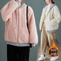 Women's large Winter 2020 Off white, pink One size fits all [recommended 100-190 kg] Jacket / jacket singleton  commute Straight cylinder thick Long sleeves literature Hood routine routine 25-29 years old pocket