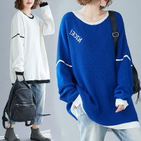 Women's large Autumn 2020 Blue, white Large XL [100-150 Jin recommended], large 2XL [150-200 Jin recommended], large 3XL [200-250 Jin recommended], large 4XL [250-300 Jin recommended] Knitwear / cardigan singleton  commute easy moderate Socket Long sleeves literature Crew neck routine 25-29 years old