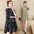 Women's large Autumn 2020 Khaki, black shirt singleton  commute easy moderate Cardigan Long sleeves Korean version Polo collar routine 25-29 years old
