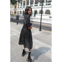 Dress Autumn of 2019 black S,M,L Mid length dress Long sleeves commute V-neck Elastic waist Dot Socket Breast wrapping Type A