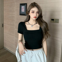 T-shirt Gray, white, black Average size Summer 2021 Short sleeve square neck Self cultivation have cash less than that is registered in the accounts routine commute cotton 71% (inclusive) - 85% (inclusive) 18-24 years old Korean version Solid color