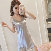Nightdress Other / other 8821 gray, 8821 black, 619 black, 619 red, 619 blue, 628 black, 628 red, 629 black, 629 blue, 8821 Pink 160(M),165(L),170(XL) sexy camisole pajamas Middle-skirt summer Solid color juvenile V-neck Iced silk Hollowing out More than 95% polyester fiber 200g and below