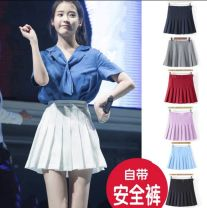 skirt Summer 2017 Short skirt Versatile High waist A-line skirt Solid color Type A 18-24 years old other Other / other polyester fiber Zipper, button, stitching 201g / m ^ 2 (including) - 250G / m ^ 2 (including)
