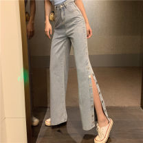 Jeans Summer of 2019 wathet S,M,L trousers High waist Wide legged trousers 18-24 years old Coated denim Other / other