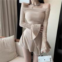 Dress Autumn 2020 Khaki, black S, M Short skirt singleton  Long sleeves One word collar High waist Socket