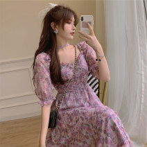 Women's large Summer 2021 Purple Floral Skirt S M L XL XXL XXXL Dress singleton  commute Socket Broken flowers polyester fiber routine SS22188- Qiwei 18-24 years old longuette Other 100% Pure e-commerce (online only)