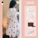 Women's large Summer 2021 Strawberry skirt L XL XXL XXXL S M Dress singleton  commute Short sleeve Dot have cash less than that is registered in the accounts other routine SSYL688 Qiwei 18-24 years old 96% and above Short skirt Other 100%