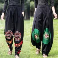 Middle aged and old women's wear Autumn of 2019 ethnic style trousers easy Solid color 40-49 years old moderate Embroidery Cotton and hemp trousers