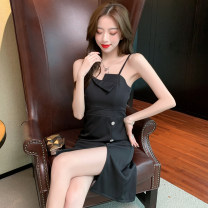 Dress Summer 2021 black S,M,L,XL longuette singleton  Sleeveless commute One word collar High waist Solid color zipper A-line skirt routine camisole 25-29 years old Type A Button polyester fiber