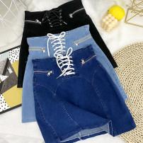 skirt Spring 2021 S,M,L,XL Black, dark blue, light blue Short skirt commute High waist Denim skirt Solid color Type A 31% (inclusive) - 50% (inclusive) Denim Other / other other Lace up, zipper Korean version
