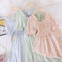 Dress Summer 2021 Green, blue, pink Average size Mid length dress singleton  Short sleeve commute square neck Socket Type X Other / other Korean version other