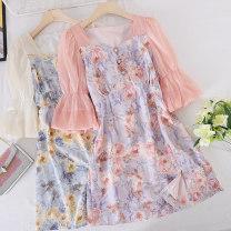 Dress Summer 2021 Blue, pink M, L Mid length dress singleton  Short sleeve commute square neck Socket Type A Other / other Korean version other