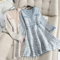 Dress Autumn of 2019 Blue, pink Average size Mid length dress singleton  Long sleeves commute V-neck High waist Socket A-line skirt routine Type A Other / other Korean version Tassel, button C372 31% (inclusive) - 50% (inclusive)