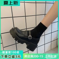 Low top shoes 35,36,37,38,39 Mallard cat Round head PU Thick heel High heel (5-8cm) Midmouth cloth Spring 2021 Trochanter Korean version Adhesive shoes Youth (18-40 years old) Solid color rubber Single shoes waterproof cloth daily