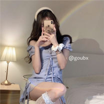 Dress Summer 2021 blue S, M Short skirt singleton  Short sleeve commute One word collar High waist Solid color Socket routine Others 18-24 years old Type A Korean version Bandage 81% (inclusive) - 90% (inclusive) other other