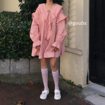 Dress Autumn 2020 Army green, apricot, pink, black Average size Mid length dress singleton  Long sleeves commute Doll Collar Loose waist Solid color Socket A-line skirt bishop sleeve 18-24 years old Type A Korean version Lotus leaf edge
