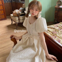 Dress Spring 2021 Apricot Average size Mid length dress singleton  Short sleeve commute Crew neck High waist Solid color Socket A-line skirt other Others 18-24 years old Type A Korean version bow other other