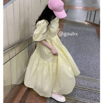 Dress Summer 2021 Yellow dress Average size Mid length dress singleton  Short sleeve commute Crew neck High waist Solid color Socket A-line skirt puff sleeve Others 18-24 years old Type A Korean version other other