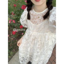 Dress Summer 2021 longuette singleton  Long sleeves commute Crew neck High waist Solid color Condom Big swing pagoda sleeve Others 18-24 years old Type A Korean version Button k1163 31% (inclusive) - 50% (inclusive) other Average size skirt