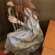 Dress Autumn 2020 Floral Dress Average size Mid length dress singleton  Short sleeve commute High waist other Others 18-24 years old Type A Korean version