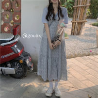 Dress Summer 2021 Blue T, suspender skirt Average size Mid length dress singleton  Sleeveless commute V-neck High waist Broken flowers Socket A-line skirt other camisole 18-24 years old Type A Korean version printing 71% (inclusive) - 80% (inclusive) other other