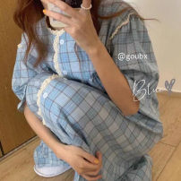 Nightdress Other / other Black check skirt, blue check skirt Average size Simplicity Short sleeve Leisure home longuette summer lattice youth Crew neck printing More than 95% 8160A 200g and below