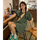 Dress Summer 2021 green Average size Middle-skirt singleton  Short sleeve commute Polo collar High waist stripe Single breasted A-line skirt puff sleeve Others 18-24 years old Type A Korean version 51% (inclusive) - 70% (inclusive) other other