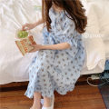 Nightdress Other / other Apricot, blue Average size Sweet Long sleeves Leisure home longuette autumn Broken flowers youth Crew neck other Lotus leaf edge More than 95% pure cotton nine thousand eight hundred and five - A 200g and below