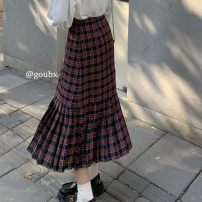 skirt Spring 2021 S,M,L Picture color Mid length dress commute High waist A-line skirt lattice Type A 18-24 years old 31% (inclusive) - 50% (inclusive) other other Korean version