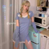 Dress Summer 2021 Dark black, soft girl blue S, M Short skirt singleton  Short sleeve commute square neck High waist Solid color Socket One pace skirt routine Others 18-24 years old Type H Korean version Lace other other