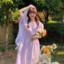 Dress Summer 2020 Light yellow, white, violet, floral sling Average size Mid length dress Two piece set Short sleeve commute Crew neck Elastic waist Socket other puff sleeve Others 25-29 years old Type A Korean version 6822# 31% (inclusive) - 50% (inclusive) other