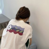 T-shirt White, black Average size Summer 2020 Short sleeve Crew neck easy Regular routine commute cotton 96% and above 18-24 years old Korean version youth Plants and flowers printing