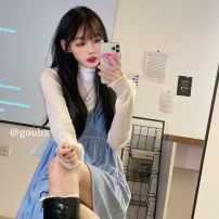 Dress Autumn 2020 With high collar and blue velvet skirt Average size Mid length dress singleton  Long sleeves commute V-neck High waist Solid color Socket A-line skirt routine camisole 18-24 years old Type A Korean version other