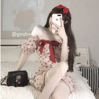 Dress Summer 2021 Picture color S, M Short skirt singleton  Short sleeve commute One word collar High waist Broken flowers Socket A-line skirt other Others 18-24 years old Type A Korean version bow 71% (inclusive) - 80% (inclusive) other other