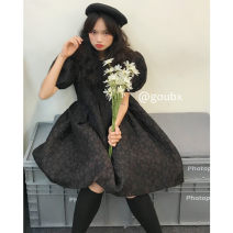 Dress Summer 2021 black Average size Short skirt singleton  Short sleeve commute Crew neck High waist Solid color Socket A-line skirt other Others 18-24 years old Type A Other / other Korean version H216 other other