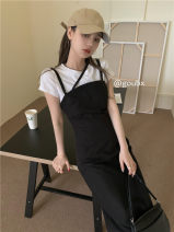 Dress Summer 2021 black Average size Mid length dress singleton  Sleeveless commute other High waist Solid color Socket A-line skirt other camisole 18-24 years old Type A Korean version 6219# 31% (inclusive) - 50% (inclusive) other other