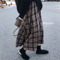 skirt Autumn 2020 Average size Picture color longuette commute Natural waist A-line skirt lattice Type A 18-24 years old 6946# 51% (inclusive) - 70% (inclusive) other Korean version
