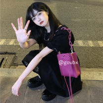 Dress Spring 2021 black Average size Short skirt singleton  Short sleeve commute Crew neck High waist Solid color Socket other other Others 18-24 years old Type A Korean version other other