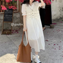 Dress Summer 2021 Two piece set Average size Mid length dress singleton  Short sleeve commute V-neck High waist Solid color Socket A-line skirt other Others 18-24 years old Type A Korean version 9885# other other