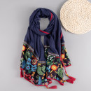 Scarf / silk scarf / Shawl polyester Spring and autumn, summer and winter female Scarves / scarves multi-function ethnic style rectangle Middle aged and elderly Plants and flowers Embroidery 85cm 180cm Less than 30% Marte&Joven Summer of 2019 no