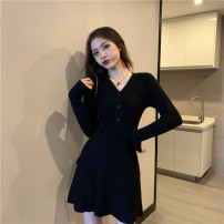 Dress Winter 2020 Apricot, black Average size Middle-skirt Long sleeves Crew neck middle-waisted Solid color Socket other routine Others Type A Other / other 51% (inclusive) - 70% (inclusive) knitting other