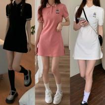 Dress Summer 2021 White, black, pink Average size Short skirt singleton  Short sleeve Polo collar Solid color Socket routine