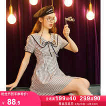 Dress Summer 2021 Check pattern S M L Short skirt singleton  Short sleeve commute square neck High waist lattice Socket A-line skirt routine Others 18-24 years old Type A Kuhnmarvin / kuenmavi Korean version Frenulum K73557 71% (inclusive) - 80% (inclusive) polyester fiber