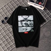 T-shirt Youth fashion routine S M L XL 2XL 3XL XS 4XL 5XL Visliongo / weishige Short sleeve Crew neck easy Other leisure summer Cotton 100% teenagers routine Hip hop Knitted fabric Summer of 2019 Geometric pattern printing cotton Figure pattern No iron treatment Fashion brand More than 95%